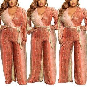 Pants - NWT Plus Size Cora & Gold Faux Wrap Jumpsuit Sz16